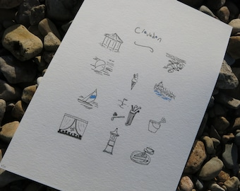Contemporary Limted Edition Illustration with Clevedon Theme - Unframed