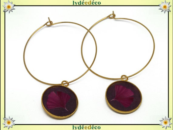 Creole earrings Ginko Golden brass gold 24 carat 24 k pink resin flower