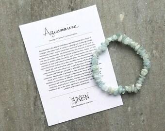 Aquamarine Bracelet // Aquamarine Nugget Bracelet // Crystal Bracelet // March Birthstone Bracelet // Gemstone Bracelet // Crystal Jewelry