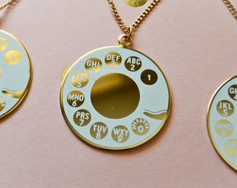 Vintage Telephone Rotary Dial Necklace - Enamel Pendant Necklace - Retro Jewelry