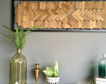 Panoramic Chevron // mosaic wood art // modern wood assemblage