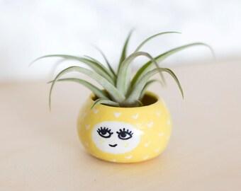 Pineapple planter for succulent, ceramic plant pot, handmade pottery, flower pot, cactus planter, mini planter,  birthday, baby shower