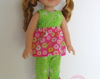 Green/Pink Spring Outfit, Includes Floral Ruffled Top , Capri Pants , Shoes , fits 14.5 inch dolls like AG Wellie Wishers