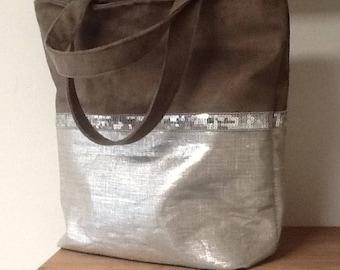 Large Linen Linen Tote Bag / Iridescent Linen Tote Bag, Sequins / XL Linen Bag and Sequins / Large Taupe Shoulder Bag, Silver / Handmade Bag