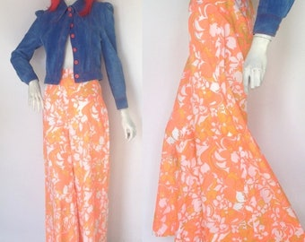 Vintage 1960s high waist Pants / trousers / Flower Power / Hippie / Festival / Vogue / psychedelic / bold