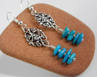 Long Turquoise Dangle Earrings in Sterling Silver