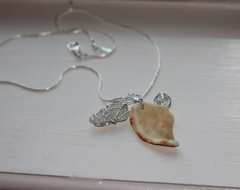 Sea shell and sea glass pendant necklace
