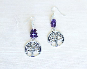 Tree of Life Earrings in Sterling Silver & Amethyst