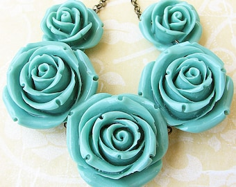Statement Necklace Turquoise Jewelry Bib Necklace Resin Flower Necklace Rose Jewelry