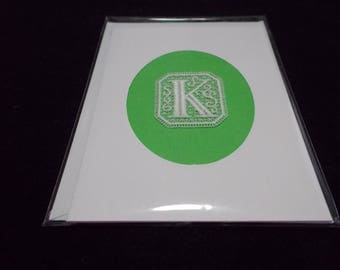 Cards with Belgian Lace Block letters K,L,M,N