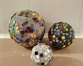 Mosaic art - mosaic ball - home decor - mosaic glass art - mosaic mirror ball - ornament -mosaic home decor -monochromatic art - glass art