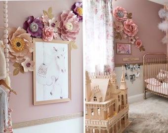 Paper flower backdrop WINNIE DOT extended/Paper flower wall/Wedding Backdrop/Nursery decor/Baby shower/Sweet table/Christening/Dessert table
