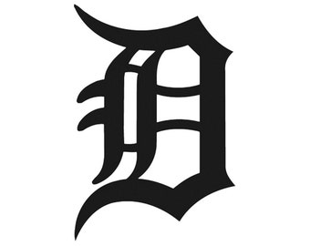 "Detroit Old English ""D"" Tigers Sports Vinyl Decal"
