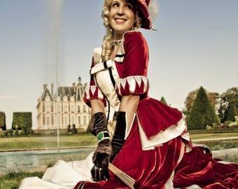 19th century dress - 1900 gown victorian - Fantasy dress - masquerade - red velvet - reenactment - cosplay - costume