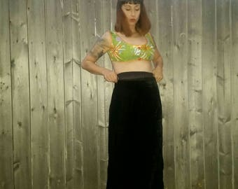 Incredible 1960s High Waist Black Velvet Maxi Skirt with Flared Witchy Morticia Bottom by Vivon's Jrs Montreal ILGWU