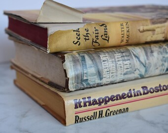 Set of Vintage Books with Dust Covers / Rustic / Aged / Old / Beige / Neutrals / Home Decor / Set of 3 / Boston / Brown / Fixer Upper