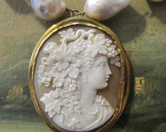 Antique Cameo & Baroque Pearls