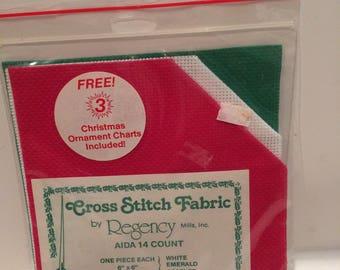 "Aida 14 count, Cross Stitch Fabric, 3 Christmas Ornament Charts, Regency Mills, 3 pcs 6""x6"""