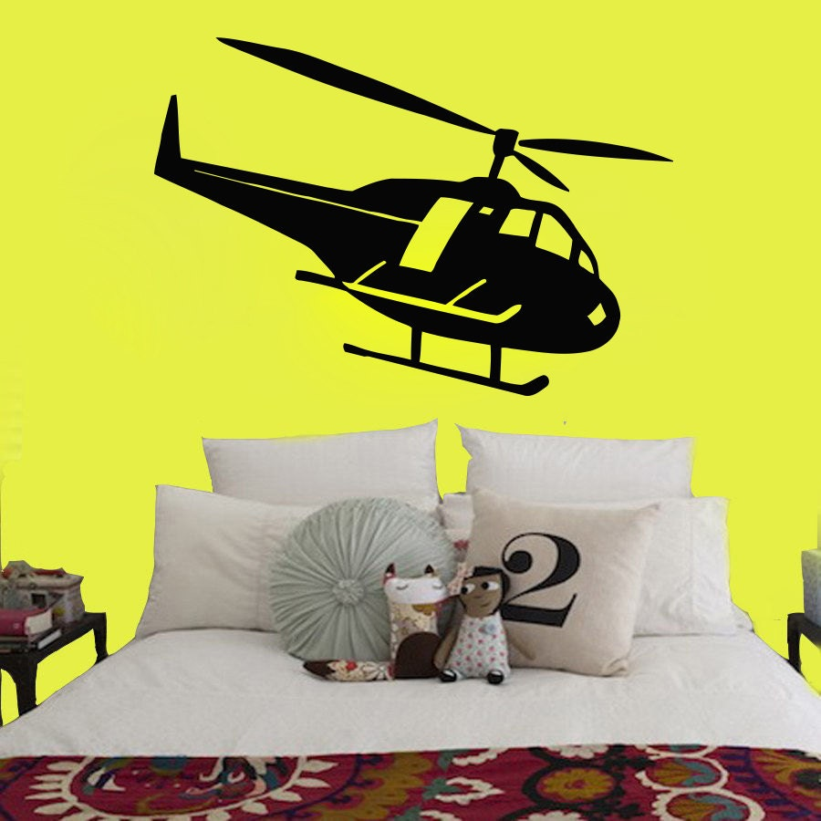 Wall Decal Vinyl Sticker Helicopter Copter Rotor Plane Girl