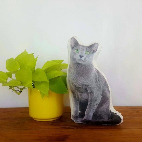 Russian Blue Cat Stuffed Animal Cat Photograph Plush Cat