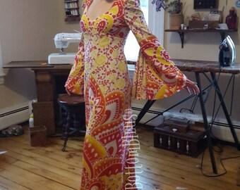 70s Inspired Bell Sleeve Dress Mandala Tapestry