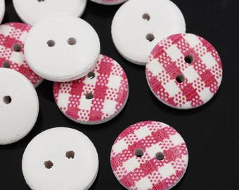 10 wooden gingham buttons - round 15 mm - 2 holes - fuchsia pink
