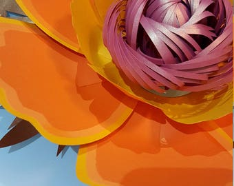 Paper flower template and Base PDF  and Svg File for loopy centre  (as in foto)#71