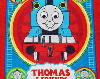 Thomas Pre-Quilted Panel, Thomas The Tank Engine,  Thomas The Tank Engine Panel, Pre-Quilted, Thomas in Blocks on Back, 1 Panel,  Reversible
