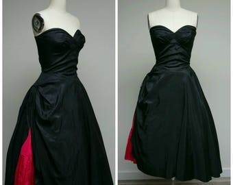 Vintage 1950s Dress • Sweetheart Sadie • Black Taffeta Strapless Tea Length 50s Party Dress Size Medium