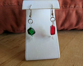 Red and green Christmas candy dangle earrings