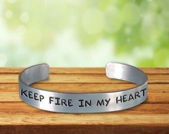 Firefighter Wife - Girlfriend Bracelet Stamped Aluminium Cuff Jewelry
