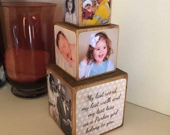 Stacking Photo Cubes, set of 3 cubes, Photo Block, Photo Gift Idea, wooden photo block, photo keepsake, wooden block, photo gift