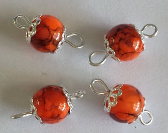 5 connectors 8mm orange/black glass beads