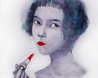 Original watercolor portrait of Woman with red lipstick Watercolor woman painting Watercolour fashion illustration Red lipstick drawing
