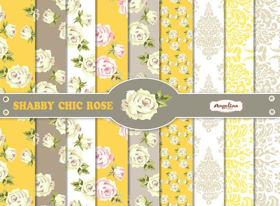 9 shabby chic rose yellow and gray digital scrapbook papers rh etsy com shabby chic yellow quilt shabby chic yellow curtains