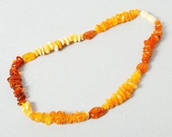Genuine Natural Baltic beaded amber necklace. 17 inch