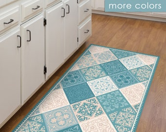 Vinyl Floor Mat, Kitchen Mat, With Tile Design In Turquoise And Blue. PVC