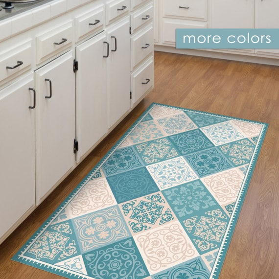 Blue Kitchen Rug: Vinyl Floor Mat Kitchen Mat With Tile Design In Turquoise