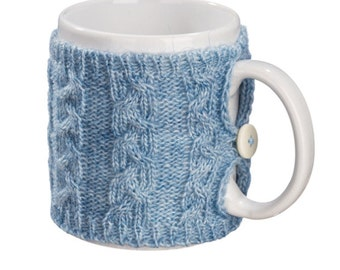 Mug Sweater, Cup Cozy, Reusable Coffee Sleeve Hand Protector, Drink Grip, Pastel Blue