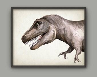 Tyrannosaurus Rex Dinosaur Watercolor Art Poster - Jurassic Dinosaur Decor - Watercolour Dinosaur Print - T Rex Boys Bedroom Art - AB694