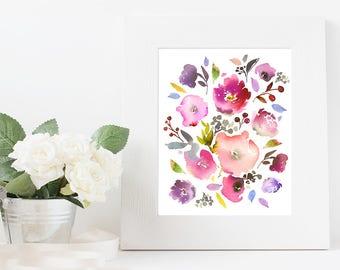 Flower digital art, flower digital print, flower printable, abstract flower art, flower decor, flower download, watercolor flower art