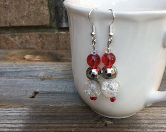 Festive Red and Silver Earrings