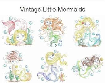 Vintage Little Mermaids Machine Embroidery Designs Pack Instant Download 5x5 6x6 8x8 hoop 10 designs APE2709