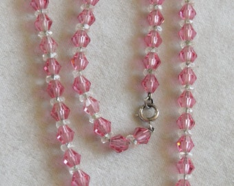 1920's Pink Crystal Bead Necklace