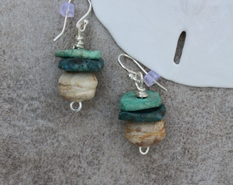 149 Handmade clay stone dangle earrings, sterling silver ear wires, boho, southwest, rustic, artisan