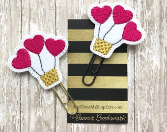 Heart Balloon Feltie Planner Clip Bookmark, Clips for Planners, Book club party favors, gifts under 5, Planner paper clip, Felt planner clip