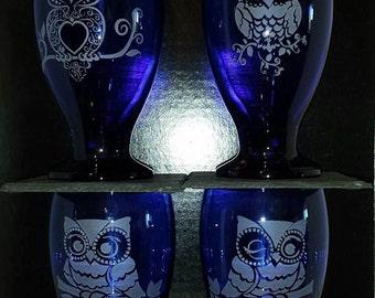 Set of 4 Cobalt Blue Owl Water Goblets