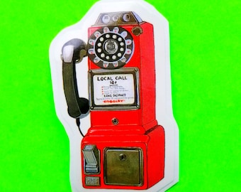 Telephone Red Payphone Rotary Phone Retro Kitsch Call Me Anytime Old School Glossy Vinyl Sticker - More Styles