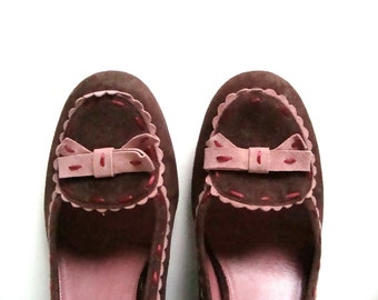 SALE Vintage Brown and Pink Suede Pumps, Retro 1940's Style, US Womens Size 9.5