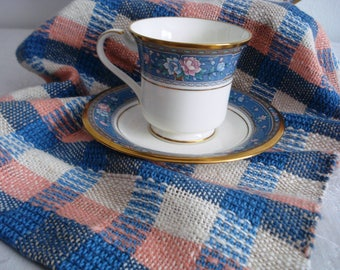 Kitchen towel, hand woven, dish towel, hand towel, tea towel, all cotton, plaid, blue oat peach